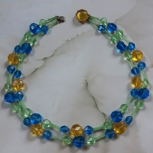 Jewelry - Vintage 1960s Chunky Glass Beaded Necklace